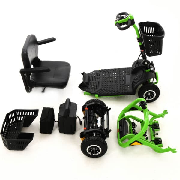 Green Transportable Mobility Scooter Disassembled