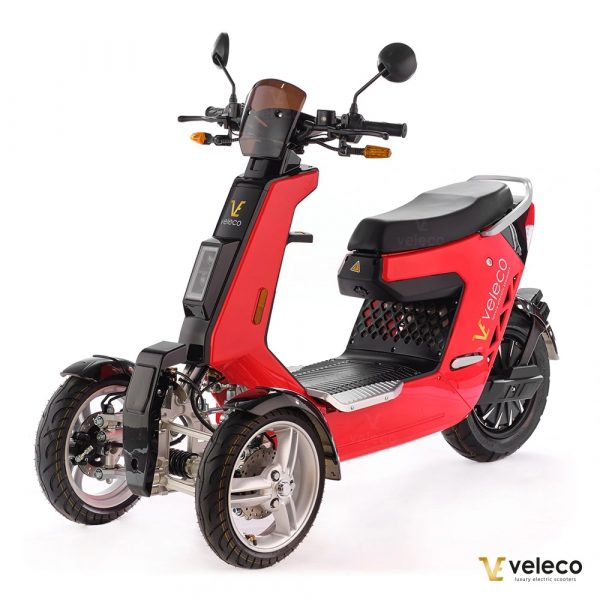 Red 3 Wheel Electric Moped